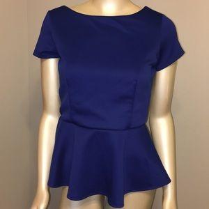 Bisou Bisou blue peplum top blouse